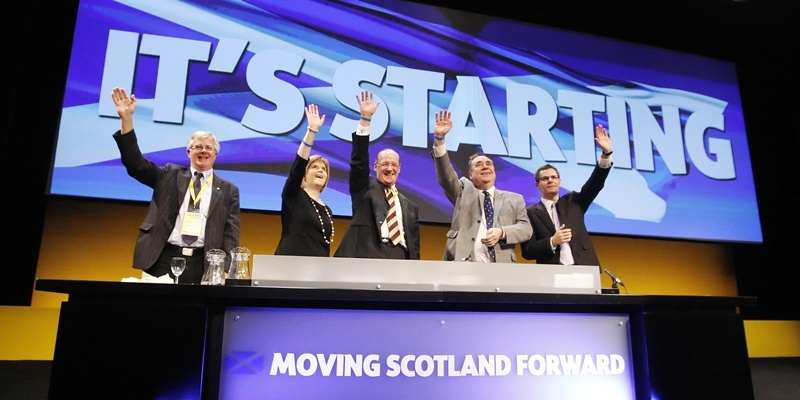 Left to right President Ian Hudghton, Deputy First Minister Nicola Sturgeon, MSP John Swinney, First Minister Alex Salmond and MSP Derek Mackay mark the end of the marks the end of the 77th Scottish National Party annual conference at the Eden Court Theatre in Inverness.
