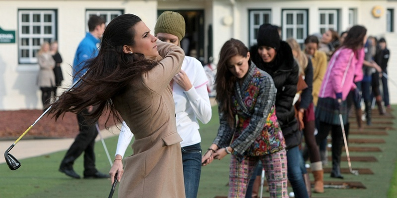 Kim Cessford, Courier 25.10.11 - pictured at the Gleneagles Golf Academy where the Miss World contestants tried their hand at golf are the girls on the driving range
