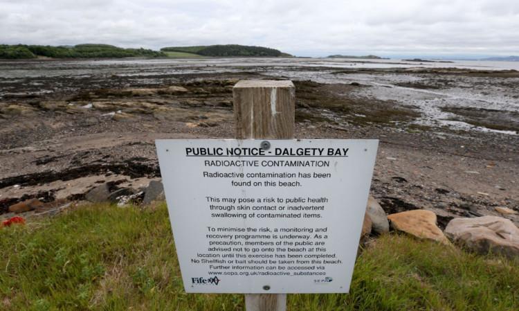 A warning sign at Dalgety Bay beach.