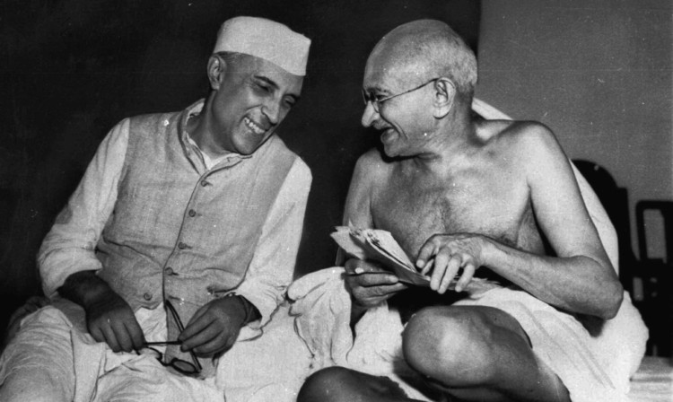 Gandhi, the Mahatma, who eventually led India to its independence, laughs with the man who was to be the nation's first prime minister, Jawaharlal Nehru,on July 6, 1946.