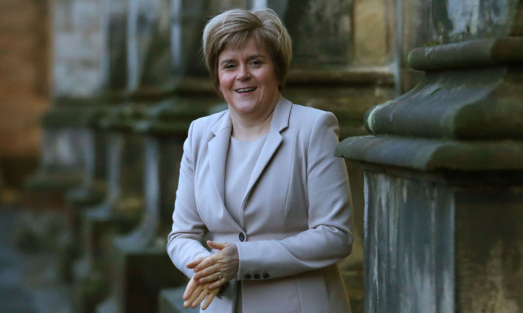 Nicola Sturgeon in the quadrangle at St Andrews University after addressing a packed hall.
