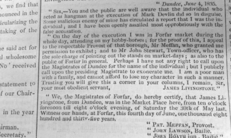 James Livingstone's letter from the Dundee Advertiser of June 4, 1835.