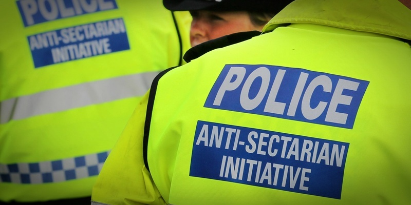 Previously unreleased photo dated 18/09/11 of police wearing Anti-Sectarian Initiative jackets at the Old Firm match between Glasgow Rangers and Glasgow Celtic at Ibrox, Glagow.