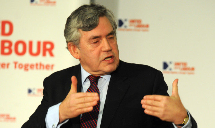 Gordon Brown during his address at Lochgelly Town Hall.