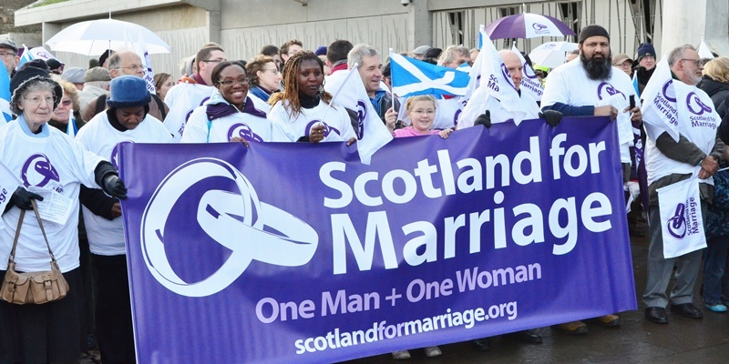 A Scotland for Marriage rally at the Scottish Parliament voices opposition to same sex marriage. -- Scotlands Cardinal Keith OBrien spearheaded a 'Scotland for Marriage' rally at the Scottish Parliament voicing opposition to same sex marriage. Edinburgh, United Kingdom. 30th November, 2011Cardinal leads rally at Scottish Parliament against same sex-marriage