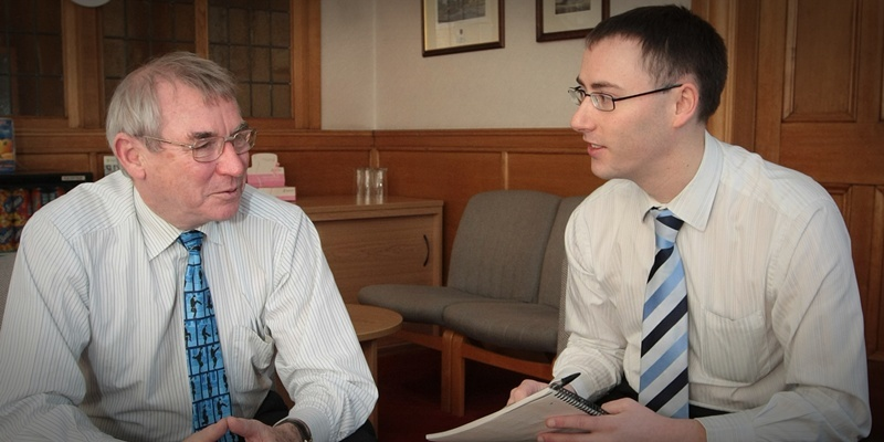 Kim Cessford, Courier - 05.12.11- pictured in the Council Chambers are l to r - Ken Guild being interviewed by Graham Huband