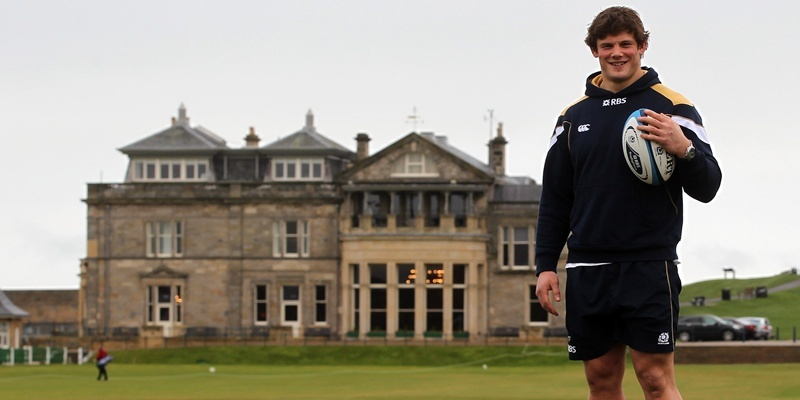 Scotland's Ross Ford who was today named captain for the first Six Nations match against England pictured on the Swilken Bridge, St Andrews after a Press Conference at the Old Course Hotel, St Andrews.