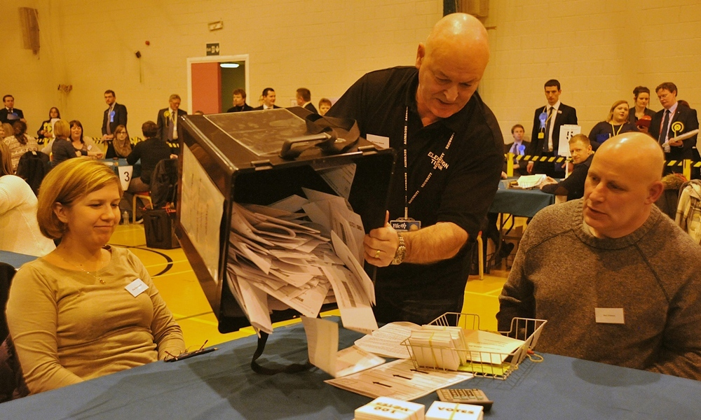 Scottish Parliamentary By - Election for the Cowdenbeath Constituancy held at the Dalgety Bay Spoets Centre in Fife. 23 Jan 14