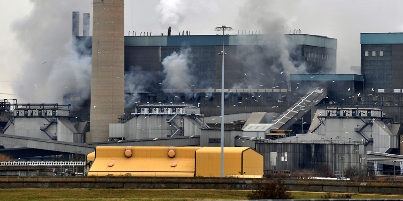 Smoke billows from Tilbury power station after fire broke out earlier today.
