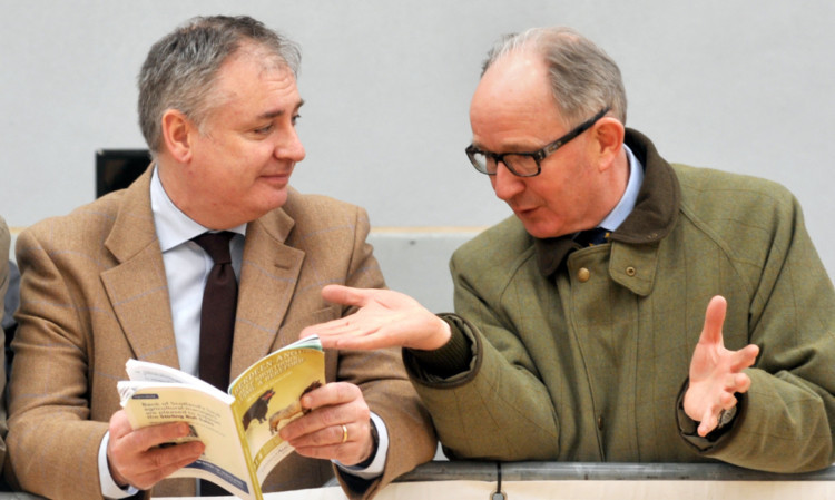 United Auctions chief executive David Leggat, right, makes a point to Richard Lochhead. Picture: Louis Flood.