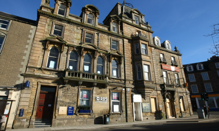The former Royal Bank of Scotland branch and Drummond Arms Hotel, in Crieff.