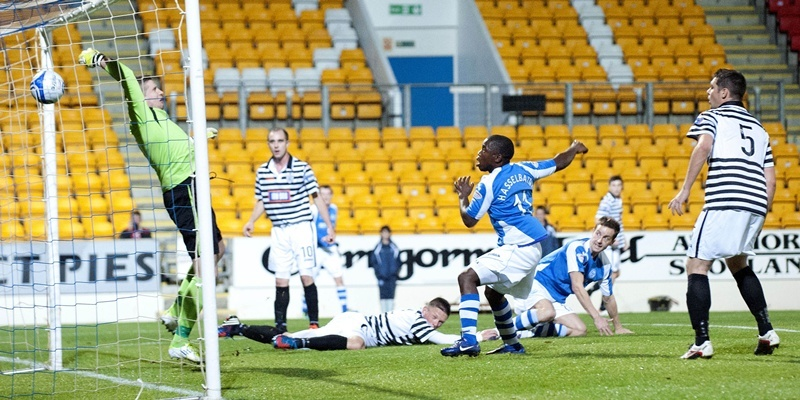 25/09/12 SCOTTISH COMMUNITIES LEAGUE CUP 3RD RND ST JOHNSTONE v QUEEN'S PARK MCDIARMID PARK - PERTH St Johnstone's Steven MacLean (2nd from right) scores his side's opening goal of the game