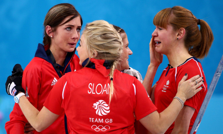 Eve Muirhead, Anna Sloan, Vicki Adams and Claire Hamilton show their emotions after winning Olympic bronze.