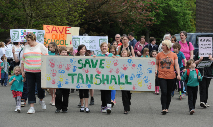 Parents and pupils marched to Fife House, Glenrothes, in protest against the planned closure of Tanshall and are vowing to keep fighting.