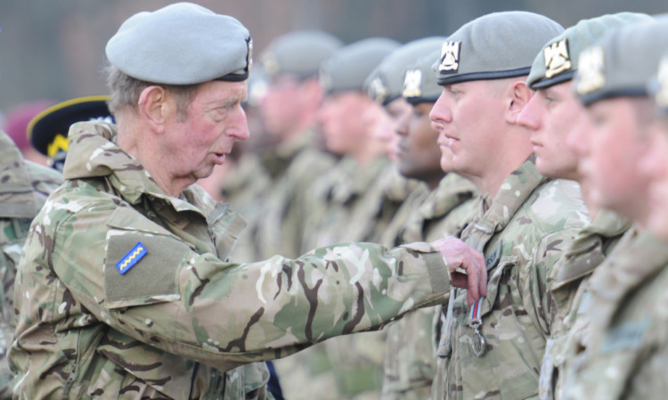 The Duke of Kent presenting a medal to L/Cpl Paul Johnson.