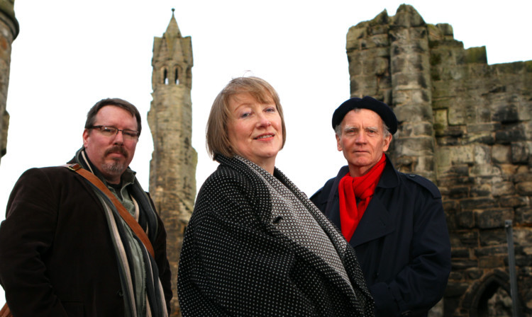 From left; Brian Turner, David Constantine and Eleanor Livingstone at the launch of the StAnza poetry festival.
