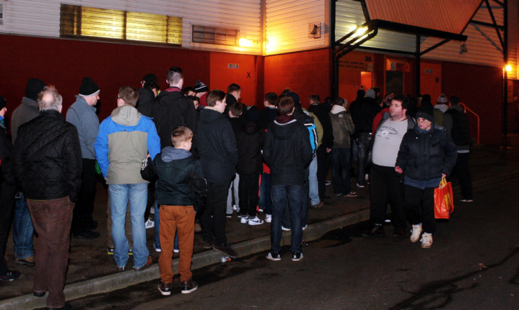 Fans were still queuing to get into the match 30 minutes after kick-off.