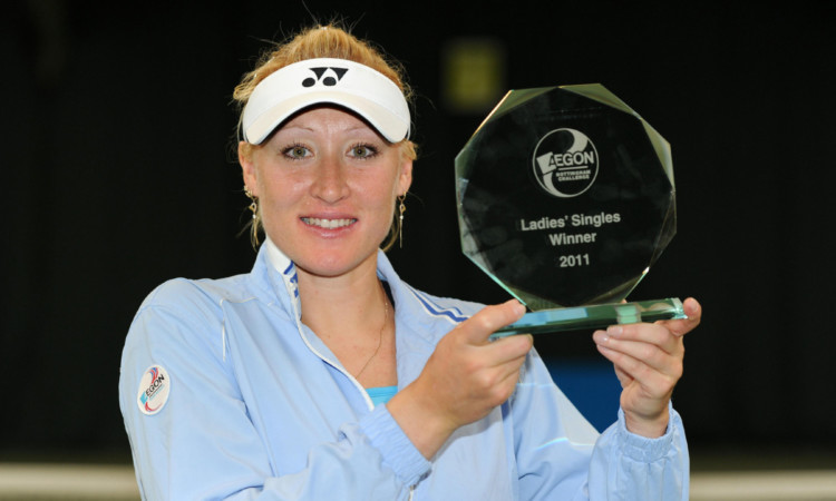 Elena Baltacha with the trophy after winning the AEGON Nottingham Challenge.