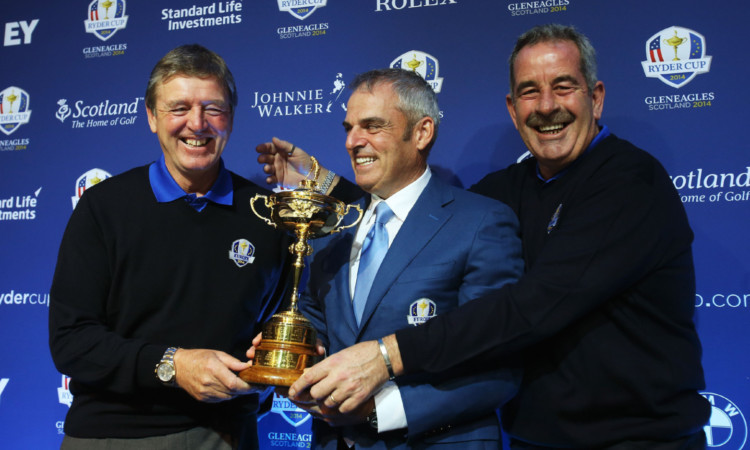Europes Ryder Cup captain Paul McGinley, centre, with vice-captains Des Smyth, left, and Sam Torrance.