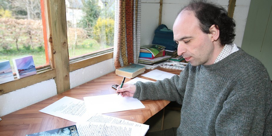 Kris Miller, Courier, 21/04/10, Features. Picture today at home of Kenneth Stevens, Aberfeldy. Pic shows writer, Kenneth at work in his cabin (garden shed) where he writes his books and short stories.