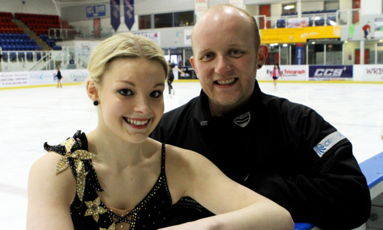 Figure skater Michelle Callison with coach David Mumby.