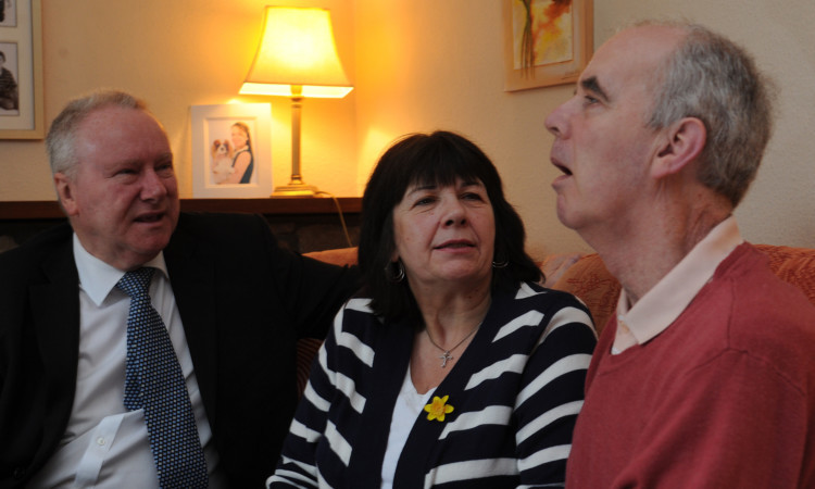 The Kopels meeting Health Secretary Alex Neil. Amanda has vowed to keep up the family's campaign despite Frank now qualifying for free care.