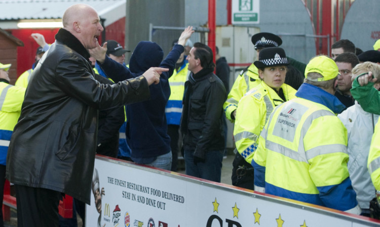 Then Dundee manager John Brown performed his own crowd control during last November's match at Hamilton.
