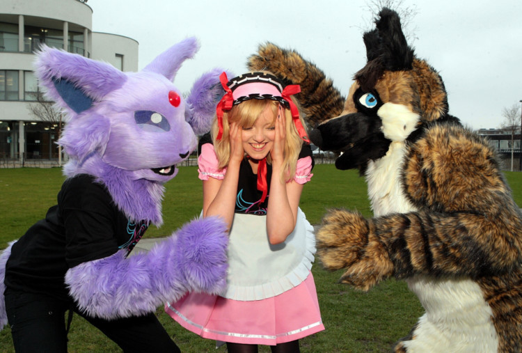 Fans of anime, comics and computer games are gathering in Dundee ahead of DEE-CON 2014. Thousands of costumed characters are expected to gather for the event at DUSA. Ceara Morgan (centre) is terrorised by characters Espeon and Cassius.
