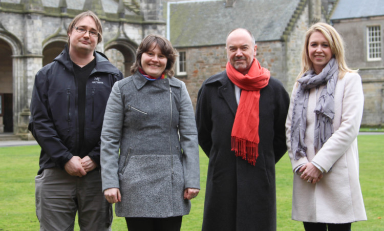 from left: Dr Per Ola Kristensson, Dr Catherine Cazin, Professor Andrew Whiten and Dr Katie Stevenson.