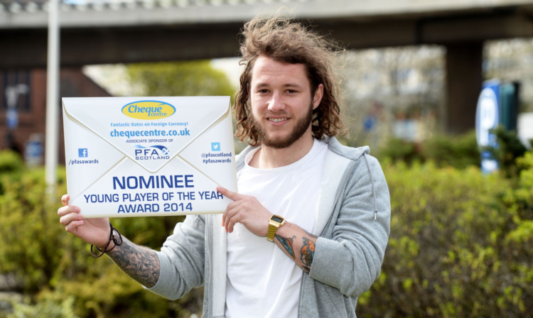 St Johnstone's Stevie May celebrates after being nominated for the SPFL Premiership Young Player of the Year award.