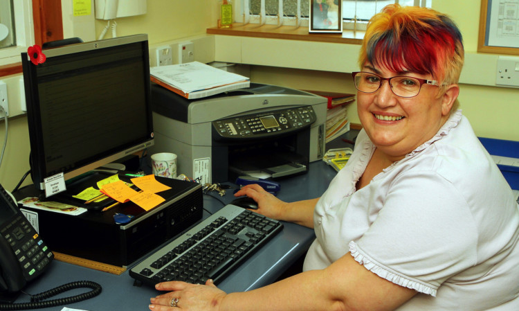 Lorna Kydd at work in Warddykes Primary School after her 40 years of fundraising.