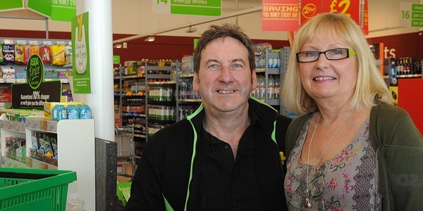 Ronnie Smith and Mona Walker in ASDA Dalgety Bay where they met