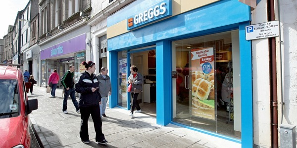 Kim Cessford, Courier - 11.04.11 - Greggs has opened their latest store in Castle Street, Forfar - pictured is the store with the soon to close Alworths shop in the background