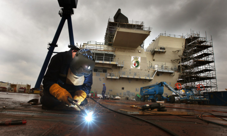Work ongoing at the Queen Elizabeth Aircraft carrier.
