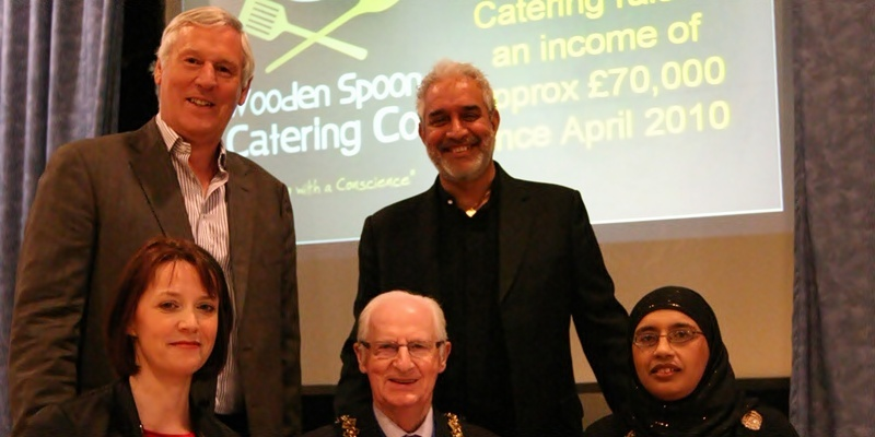 DOUGIE NICOLSON, COURIER, 21/04/11, NEWS. DATE - Thursday 21st April 2011. LOCATION -  Bonar Hall, Dundee. EVENT - Launch of website. INFO - L/R seated, Angie Foreman - Social Enterprise Business Manager Wooden Spoon Catering Services, Lord Provost John Letford, Pervin Ahmad - Executive Officer Dundee International Womens Centre, back Paul Grant  - MD of Mackays, left, and Charan Gill MBE - Head of the Harlequin Group. STORY BY -