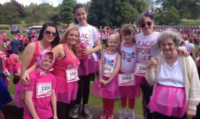 Team Grace at the Race for Life, with Grace herself at the centre.