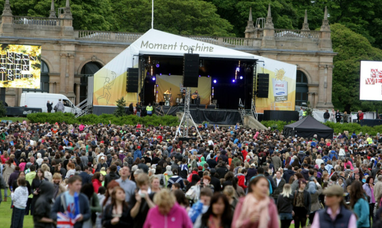 The Olympic Torch arrives at Baxter Park, Dundee.