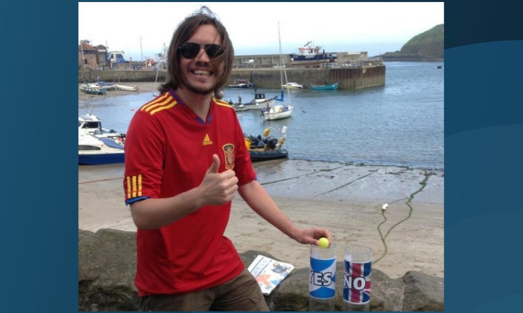 A smiling Ray McRobbie casting his Yes vote in Stonehaven  before last night's World Cup disaster for Spain!