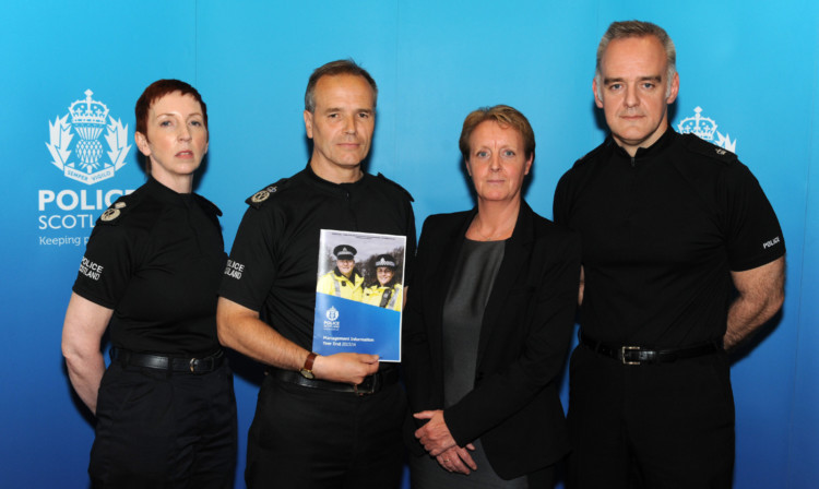 DCC Rose Fitzpatrick, Chief Constable Sir Stephen House, DSI Louise Raphael and Sup Ian Murray release the new crime figures.