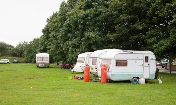 The Traveller camp near Forfar Loch.