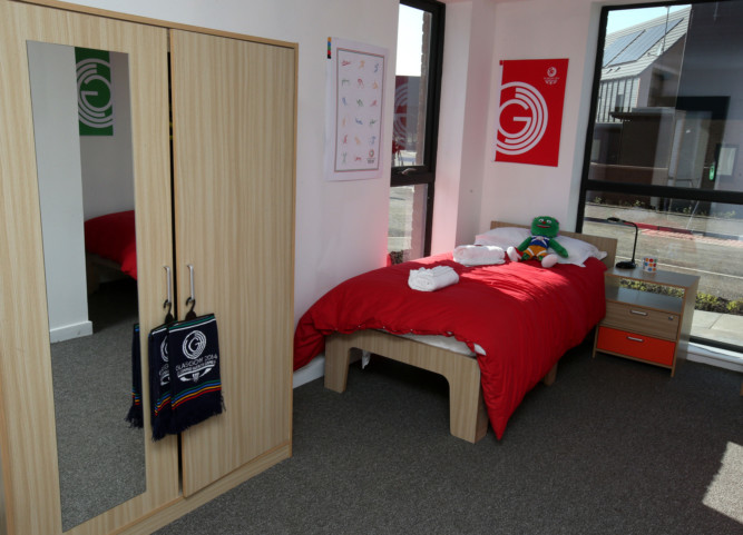 A bedroom in the athletes village at Glasgow 2014.