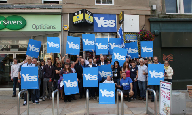 Campaigners marking the official opening of the Yes Scotland shop in Kirkcaldy earlier this month.