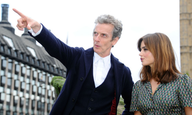Dundee's that way  Doctor Who Peter Capaldi with co-star Jenna Coleman.