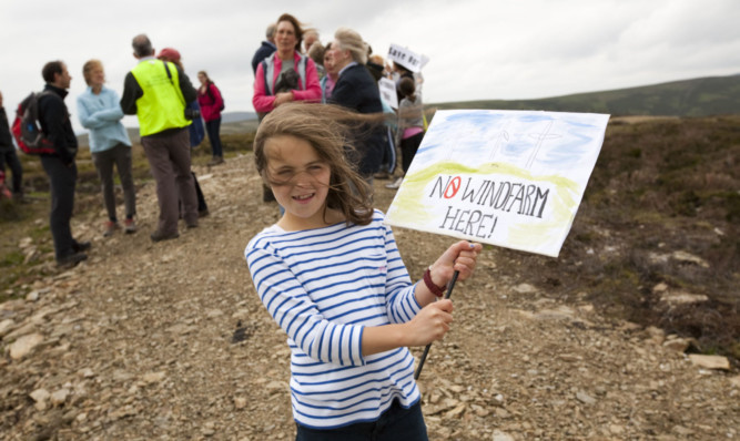 The Glen Lethnot turbine proposals were not met with total support in the community. Protesters took to the glen in 2012 to show their displeasure at the scheme.