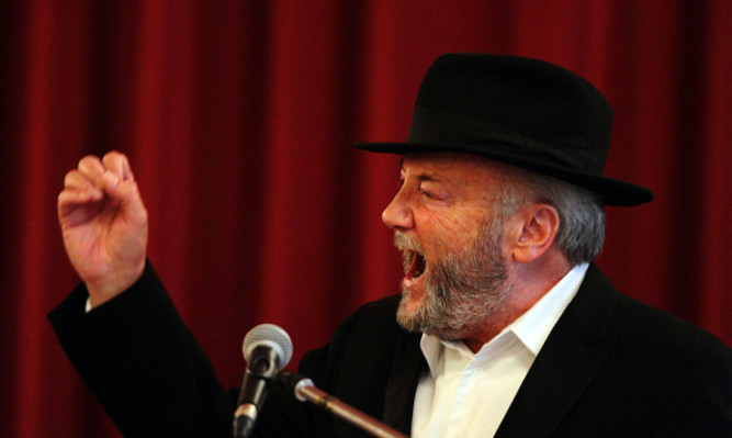 Respect MP George Galloway at the podium during his speech at the Marryat Hall. Picture: John Stevenson.