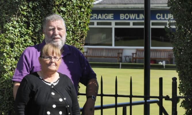 Kathleen Wright and husband John outside Craigie Bowling Club.