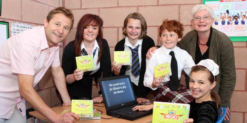 Steve MacDougall, Courier, Dunning Primary School. Launch of new French/ English language learning resource. Pictured, left to right is Richard Tallaron (Coordinator for Scotland), Sarah Dunlop (Blairgowrie High School), Alice Illingworth (Perth High School), James Lawrie (St Madoes Primary School), Nadine Fraize (Coordinator for France) and front is Ailish McCall (Dunning Primary School).