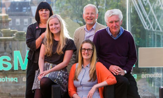 Peggy Marra, Hannah Maclure Centre curator Clare Brennan, Nicola Killean, Optimistic Sound Dundee trustee Donald Gordon and Michael Craig.