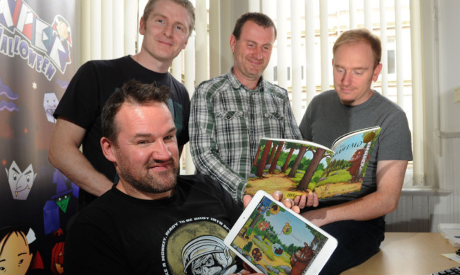 The team behind the new Gruffalo game app (back, from left) Frank Arnot, Andy West and Dave Guthrie and (front) Pat McGovern.