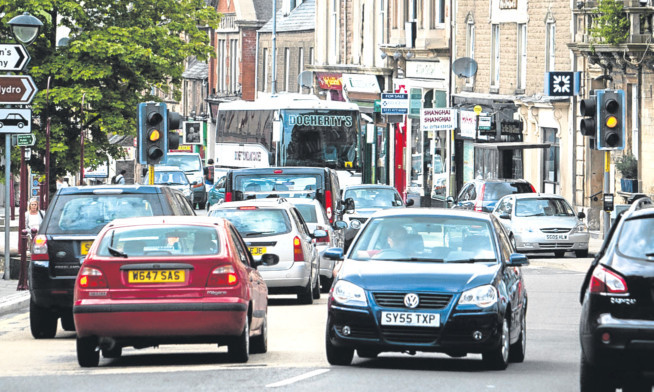 Traffic congestion in Crieff High Street.